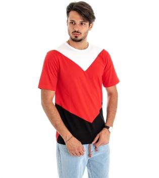 T-shirt Uomo Maniche Corte Cotone Girocollo Casual tre Colori Rosso Bianco Nero GIOSAL