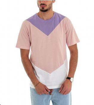 T-shirt Uomo Maniche Corte Cotone Girocollo Casual tre Colori Viola Rosa Bianco GIOSAL