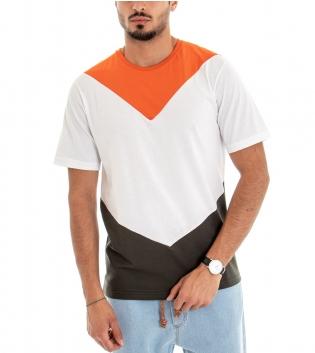 T-shirt Uomo Maniche Corte Cotone Girocollo Casual tre Colori Arancio Bianco Nero GIOSAL