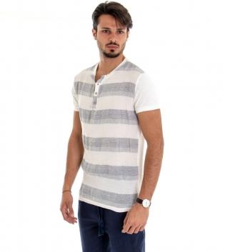 T-shirt Uomo Maniche Corte Maglia Righe Rigata Tessuto Leggero Cotone Lino GIOSAL