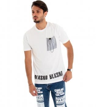 T-shirt Uomo Maglia Maniche Corte Tinta Unita Cotone Taschino Catarinfrangente GIOSAL