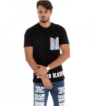 T-shirt Uomo Maglia Maniche Corte Tinta Unita Nero Cotone Taschino Catarinfrangente GIOSAL