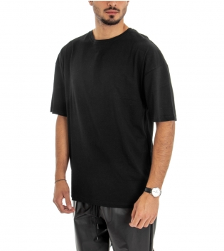 T-shirt Uomo Manica Corta Maglia Over Size Tinta Unita Nero Riga Retro Cotone GIOSAL