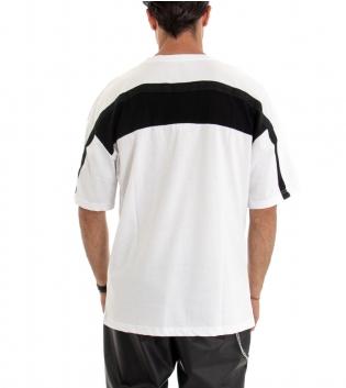 T-shirt Uomo Manica Corta Maglia Over Size Tinta Unita Bianco Riga Retro Cotone GIOSAL