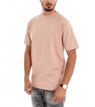 T-shirt Uomo Maglia Maniche Corte Tinta Unita Cotone Rosa Stampa Retro GIOSAL