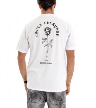 T-shirt Uomo Maglia Manica Corta Tinta Unita Bianca Stampa Retro Cotone GIOSAL