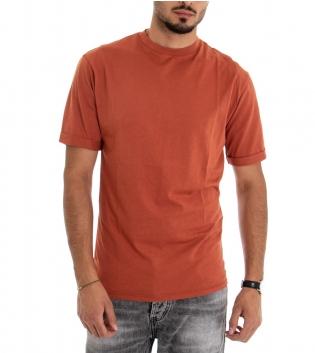 T-shirt Uomo Maglia Manica Corta Tinta Unita Ruggine Stampa Retro Cotone GIOSAL