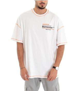 T-shirt Uomo Maglia Manica Corta Tinta Unita Over Size Stampe Scritte Girocollo Cuciture Fluo GIOSAL