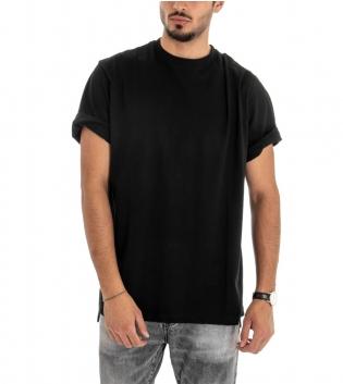 T-shirt Uomo Maglia Manica Corta Over Size Tinta Unita Scritta Retro Cotone GIOSAL