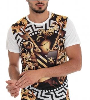 T-shirt Uomo Maglia Manica Corta Stampa Frontale Multicolore Cotone GIOSAL