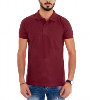 Polo Uomo Maglia Maniche Corte T-Shirt Mezza Manica Con Colletto Bordeaux Tinta Unita GIOSAL