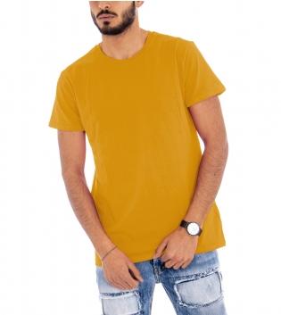 T-Shirt Uomo Mezza Manica Girocollo Cotone Girocollo Senape Basic GIOSAL