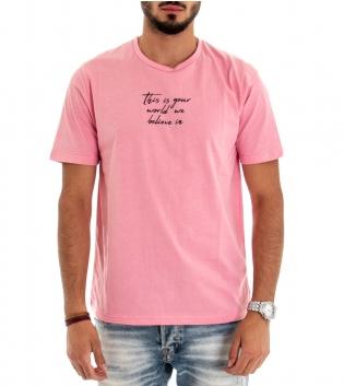 T-shirt Maglia Maniche Corte Tinta Unita Scritta Rosa Girocollo GIOSAL