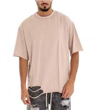 T-shirt Uomo Maglia Maniche Corte Tinta Unita Beige Girocollo Rotture GIOSAL-Beige-S