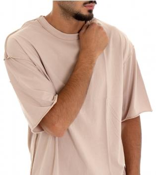 T-shirt Uomo Maglia Maniche Corte Tinta Unita Beige Girocollo Rotture GIOSAL