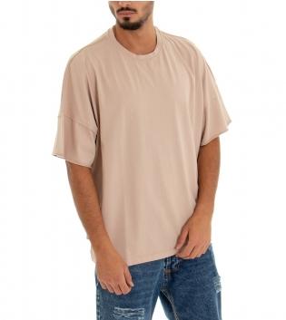 T-shirt Uomo Tinta Unita Over Beige Girocollo Cotone GIOSAL-Beige-TAGLIA UNICA
