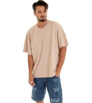 T-shirt Uomo Tinta Unita Over Beige Girocollo Cotone GIOSAL