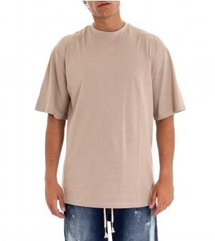 T-shirt Uomo Maglia Maniche Corte Over Tinta Unita Beige  Stampa Retro GIOSAL-Beige-TAGLIA UNICA