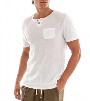 T-shirt Uomo Maglia Manica Corta Tinta Unita Bianco Taschino GIOSAL