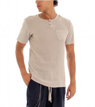 T-shirt Uomo Maglia Manica Corta Tinta Unita Beige Taschino GIOSAL