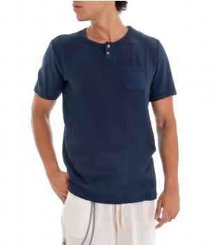 T-shirt Uomo Maglia Manica Corta Tinta Unita Blu Taschino GIOSAL