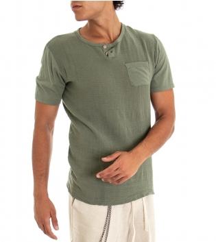 T-shirt Uomo Maglia Manica Corta Tinta Unita Verde Taschino GIOSAL