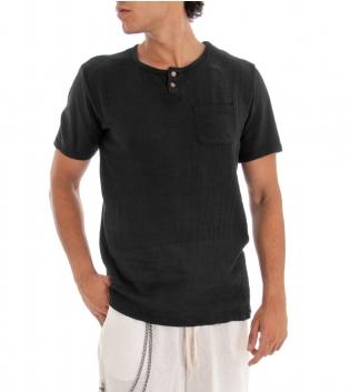 T-shirt Uomo Maglia Manica Corta Tinta Unita Nero Taschino GIOSAL