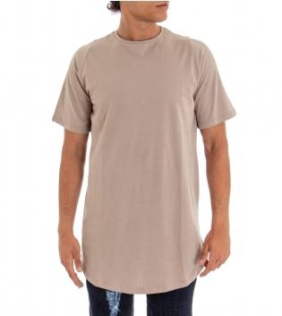 T-Shirt Uomo Girocollo Oversize Maglia Tinta Unita Beige Stampa Schiena Cotone GIOSAL-Beige-TAGLIA UNICA
