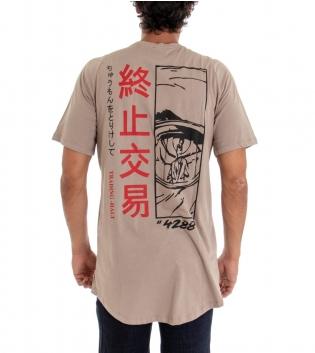 T-Shirt Uomo Girocollo Oversize Maglia Tinta Unita Beige Stampa Schiena Cotone GIOSAL