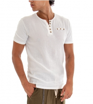 T-shirt Uomo Maglia Manica Corta Tinta Unita Bianco Taschino Bottoncini GIOSAL