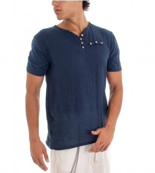 T-shirt Uomo Maglia Manica Corta Tinta Unita Blu Taschino Bottoncini GIOSAL
