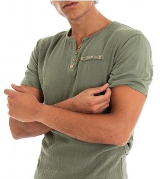 T-shirt Uomo Maglia Manica Corta Tinta Unita Verde Taschino Bottoncini GIOSAL
