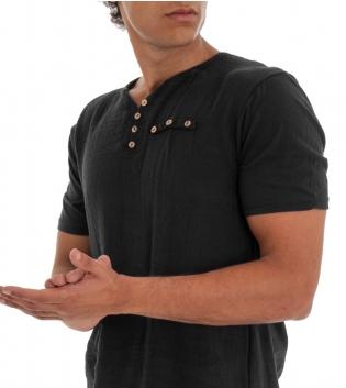 T-shirt Uomo Maglia Manica Corta Tinta Unita Nero Taschino Bottoncini GIOSAL