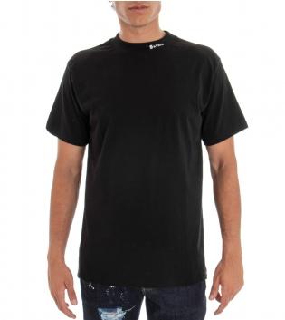 T-shirt Uomo Tinta Unita Nero Stampa Retro Girocollo Cotone GIOSAL