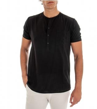 T-shirt Uomo Maglia Maniche Corte Viscosa Tinta Unita Nero Mezzo Bottone GIOSAL