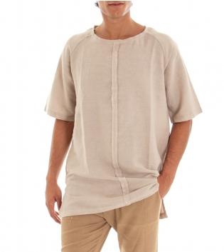 Casacca Uomo T-Shirt Girocollo Cuciture Beige Tinta Unita Cotone GIOSAL-Beige-TAGLIA UNICA