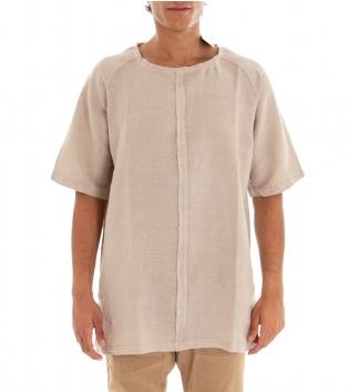 Casacca Uomo T-Shirt Girocollo Cuciture Beige Tinta Unita Cotone GIOSAL