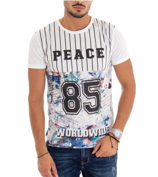 T-shirt Uomo Maglia Maniche Corte Fondo Bianco Stampa Scritta Numero Girocollo Cotone GIOSAL