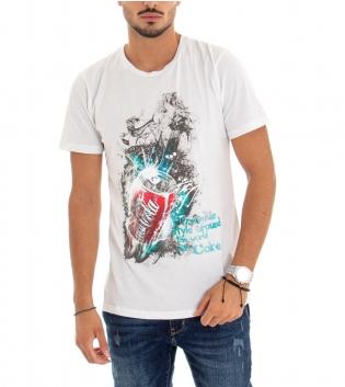T-Shirt Uomo Cotone  Maniche Corte Tinta Unita Bianca Stampa Girocollo GIOSAL