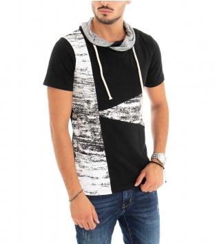 T-shirt Uomo Maniche Corte Collo Elastico Nera Stampa GIOSAL