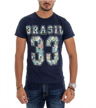 T-shirt Uomo Maglia Maniche Corte Tinta Unita Blu Stampa Cotone Girocollo GIOSAL