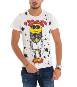T-Shirt Uomo Maglia Maniche Corte Stampa Tinta Unita Bianca GIOSAL