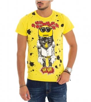 T-Shirt Uomo Maglia Maniche Corte Stampa Tinta Unita Gialla GIOSAL