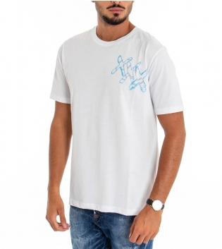 T-shirt Uomo White Official Stampa Retro Girocollo Cotone Bianco Scritta GIOSAL