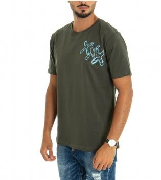 T-shirt Uomo White Official Stampa Retro Girocollo Cotone Verde Militare Scritta GIOSAL