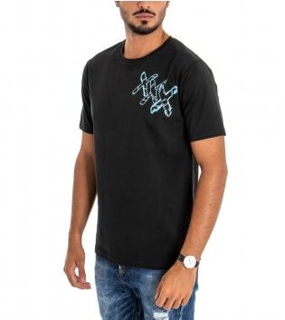 T-shirt Uomo White Official Stampa Retro Girocollo Cotone Nero Scritta GIOSAL