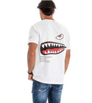 T-shirt Uomo White Official Stampa Retro Girocollo Cotone GIOSAL