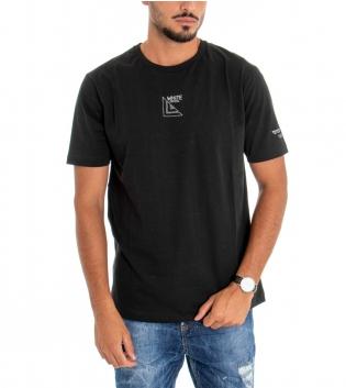 T-shirt Uomo White Official Stampa Retro Girocollo Cotone Nera GIOSAL