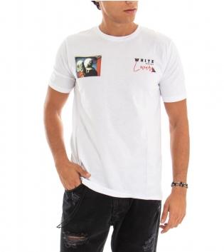 T-shirt Uomo White Official Stampa Retro Bianco Girocollo Cotone GIOSAL