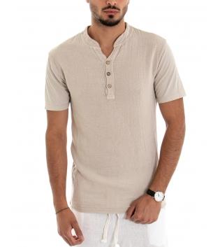 T-shirt Uomo Paul Barrell Tinta Unita Beige Maniche Corte Cotone Bottoni GIOSAL-Beige-S